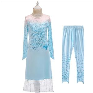 Frozen Elsa Costume Dress with leggings